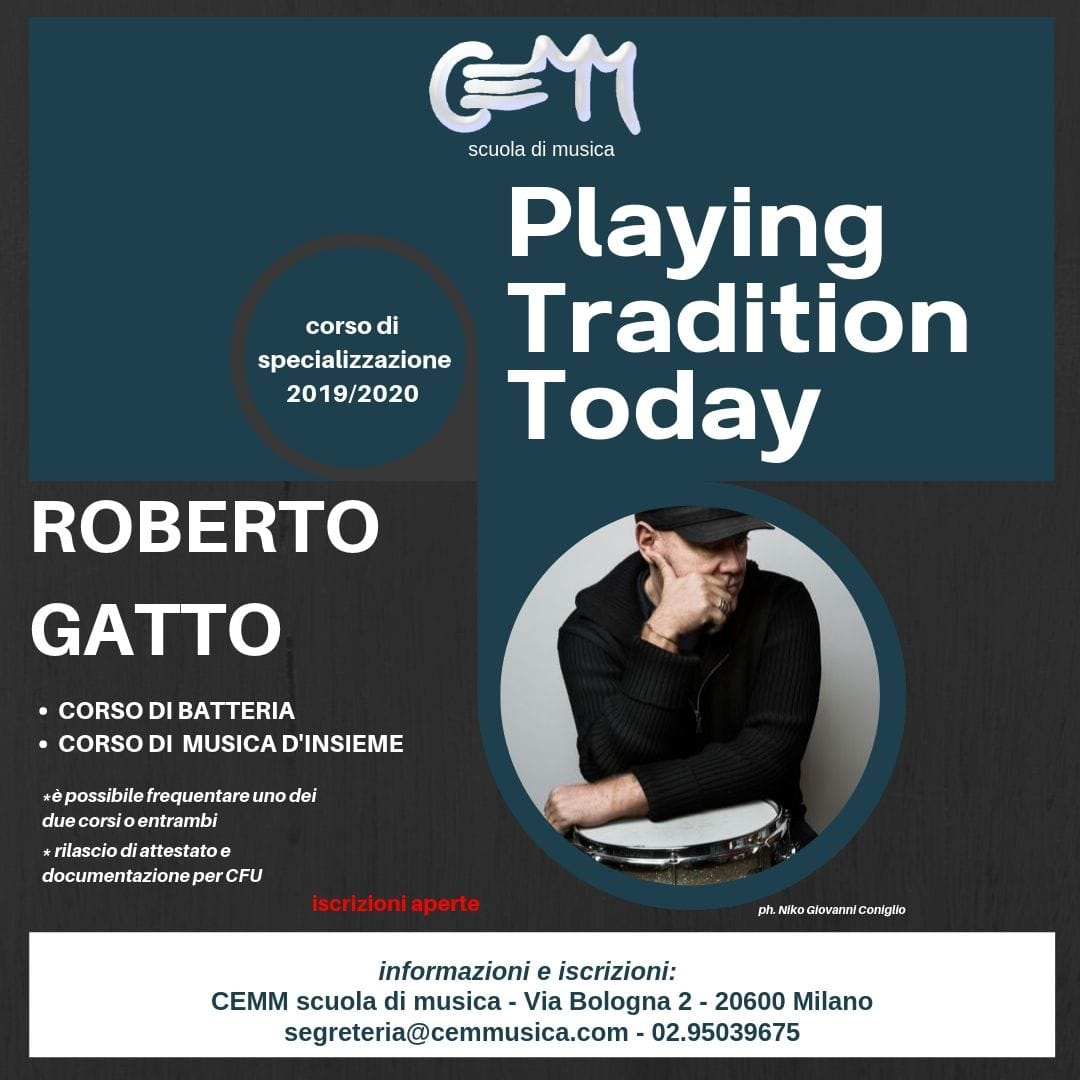 Corso di batteria jazz e musica d'insieme al Cemm con Roberto Gatto